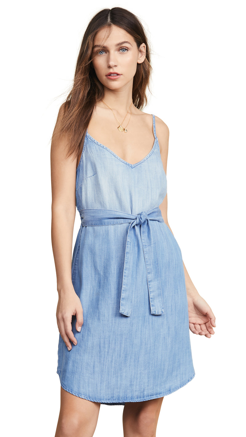 Bella Dahl Belted Smocked Back Dress Silverlake Wash Denim I ShopAA