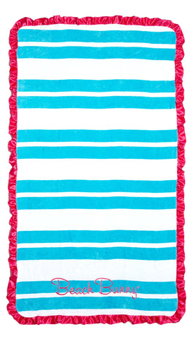 Beach Bunny Swimwear Cabana Stripe Beach Towel Pink Satin Ruffle