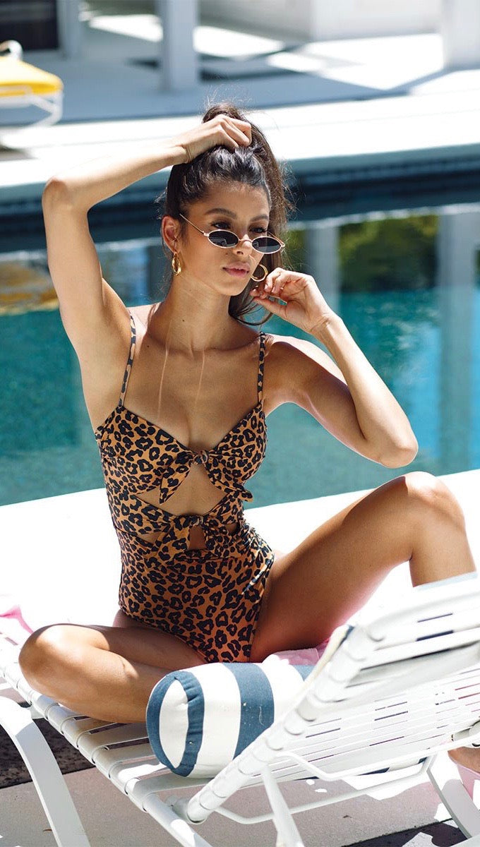 fc2dd868ab Beach Riot Mia One Piece Swim Leopard Knot Fron Ties Cutout Bodysuit