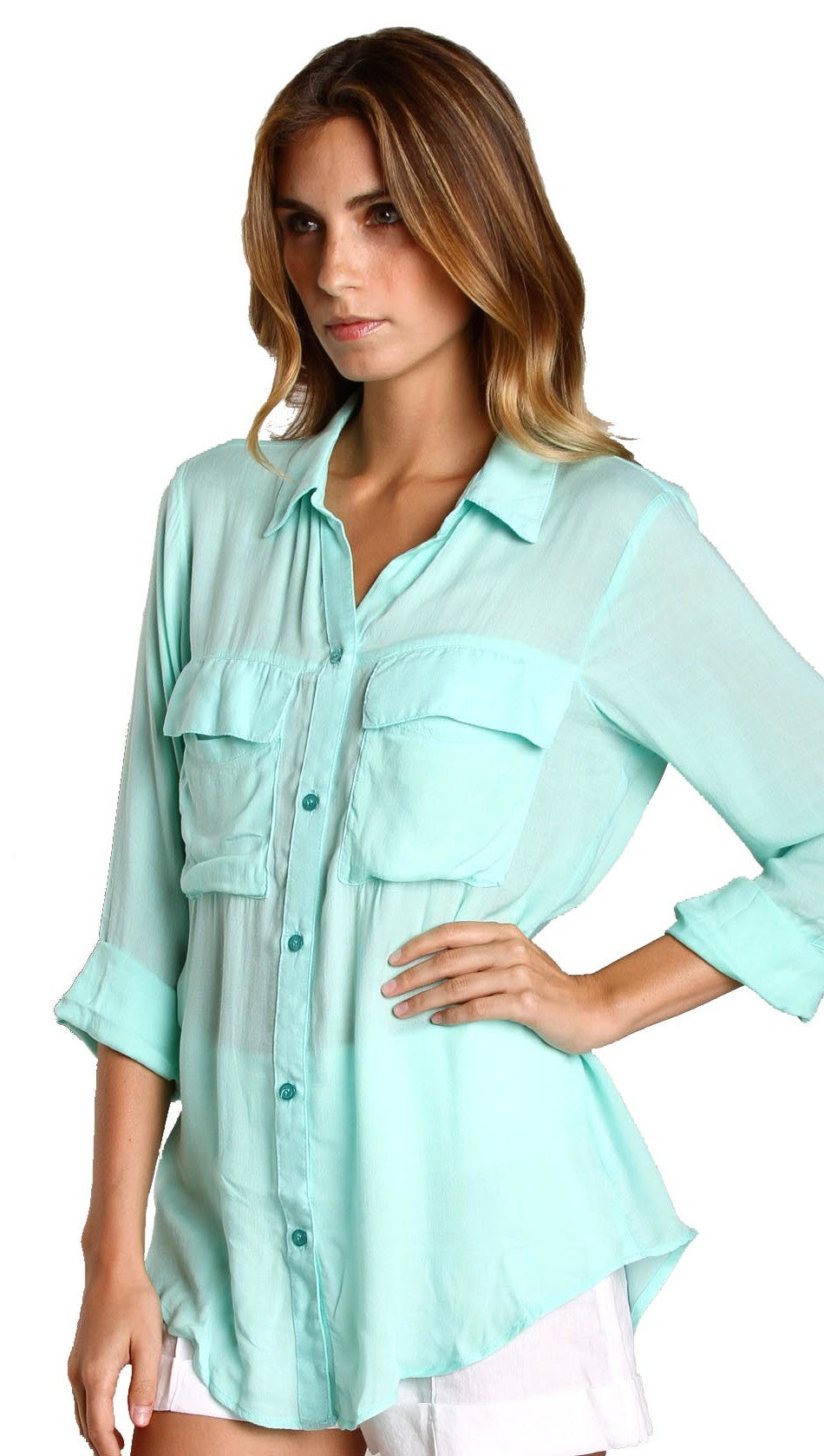 Bella Dahl Patch Pocket Button Down Shirt Aqua
