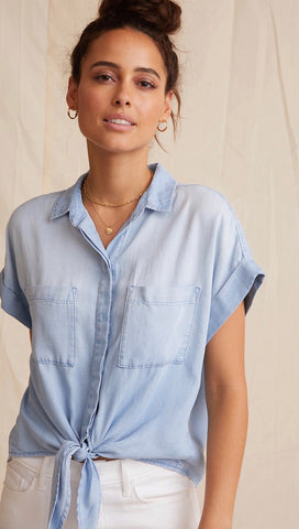 Bella Dahl Cap Sleeve Tie Front Sunbleach Wash Denim Button Down | ShopAA