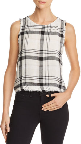 Bella Dahl Bella Dahl Frayed Plaid Button Back Tank Natural Black I ShopAA