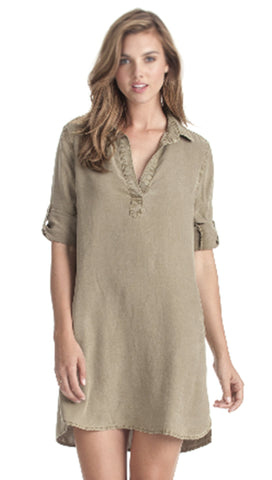 Bella Dahl Long Sleeve A-Line Shirt Dress Soft Army Green | ShopAA