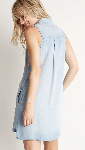 Bella Dahl Sleeveless A-Line Dress Light Mist Wash Denim Blue I ShopAA