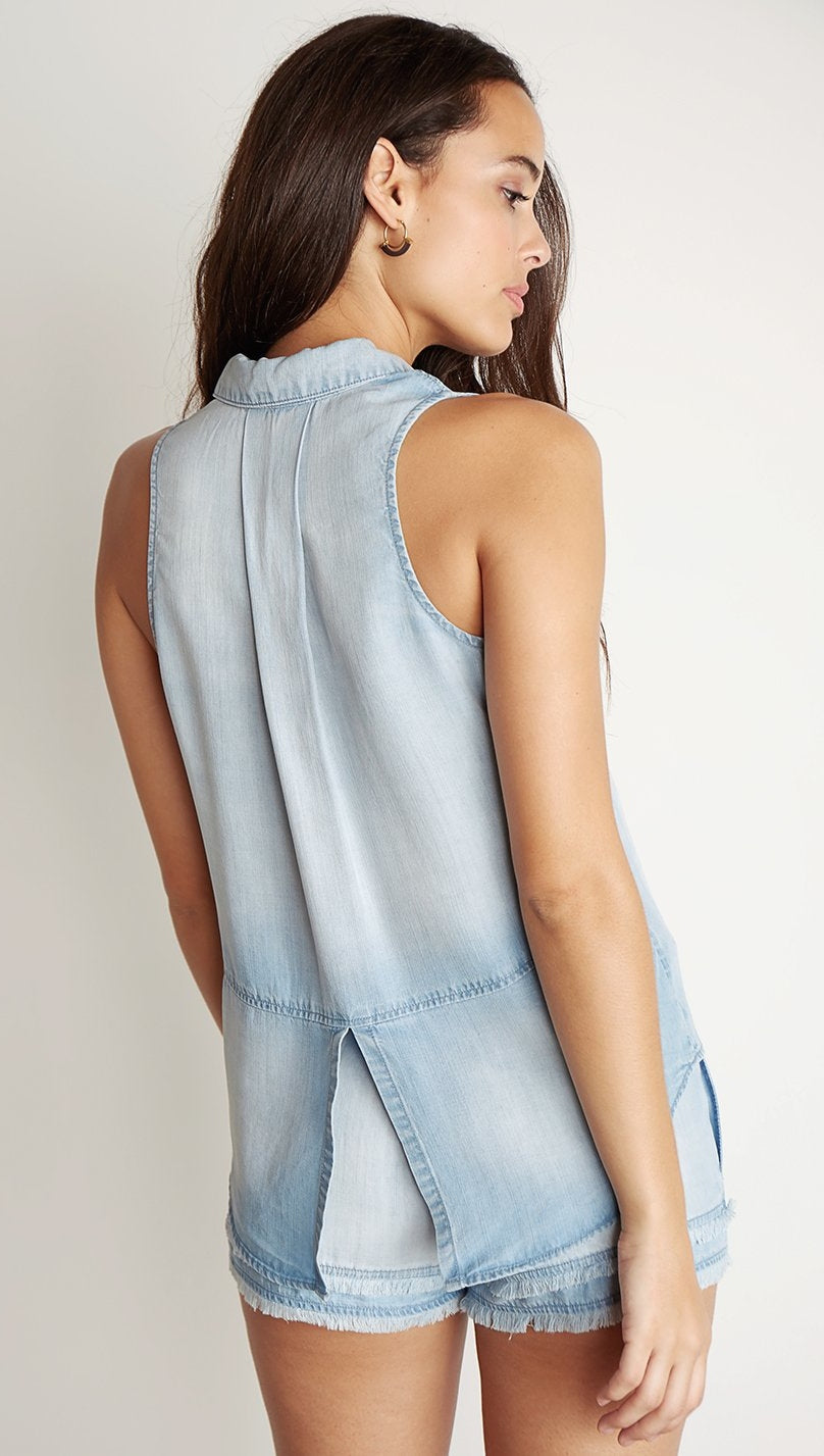Bella Dahl Sleeveless Split Back Light Mist Wash Denim Blue I ShopAA