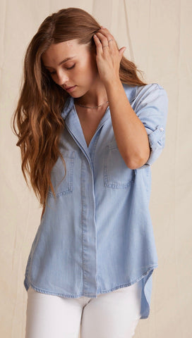 Bella Dahl Split Back Button Down Sunbleach Wash Denim Shirt | ShopAA