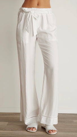 Bella Dahl Trimmed Belted Wide Leg Cargo Pants White Tencel Linen I ShopAA
