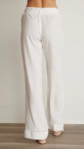 Bella Dahl Trimmed Belted Wide Leg Cargo Pants White Tencel I ShopAA