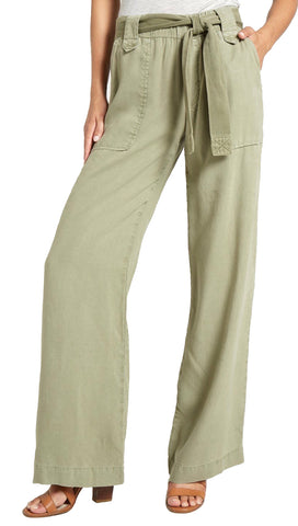 Bella Dahl Wide Leg High Waist Contrast Belt Cargo Pants Dusk Green I ShopAA