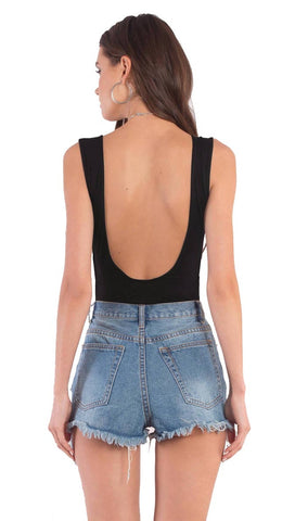 Mallory Deep Scoop Neck Bodysuit Lace Up Side Cut Outs Black