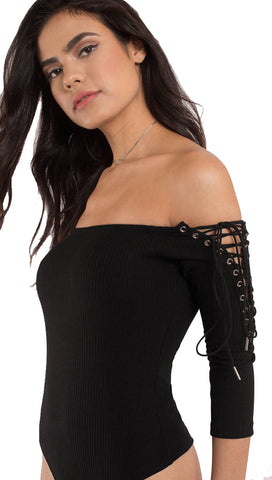 Long Sleeve Off Shoulder Lace Up Black Bodysuit