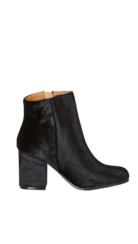 Velour Ankle Booties Black Velvet Chunky Block Heel Shoes