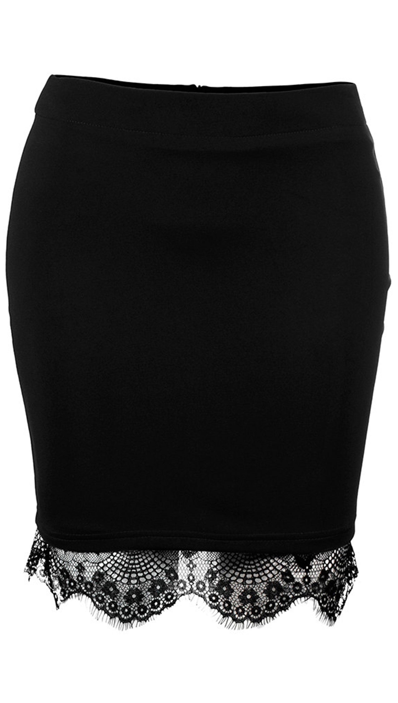Black Red Scallop Lace Trim Mini Skirt - Fitted Pencil - ShopAA
