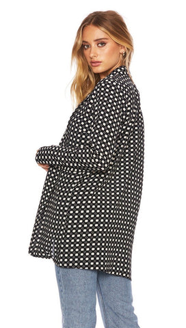 Beach Riot Blake Blazer Checkered Black & White Open Front I ShopAA