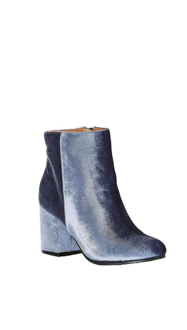 Velour Ankle Booties Light Ice Blue Chunk Block Heel Velvet Shoes
