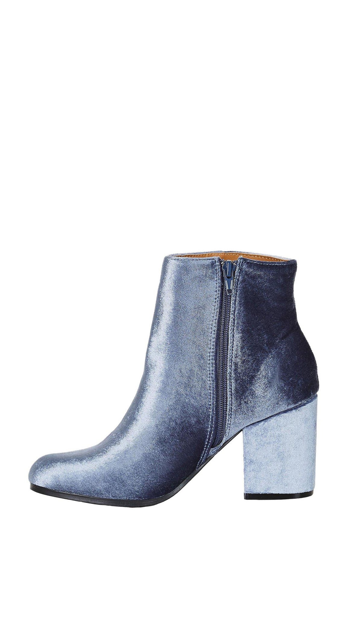 4cccec2950f Velour Ankle Booties Ice Blue