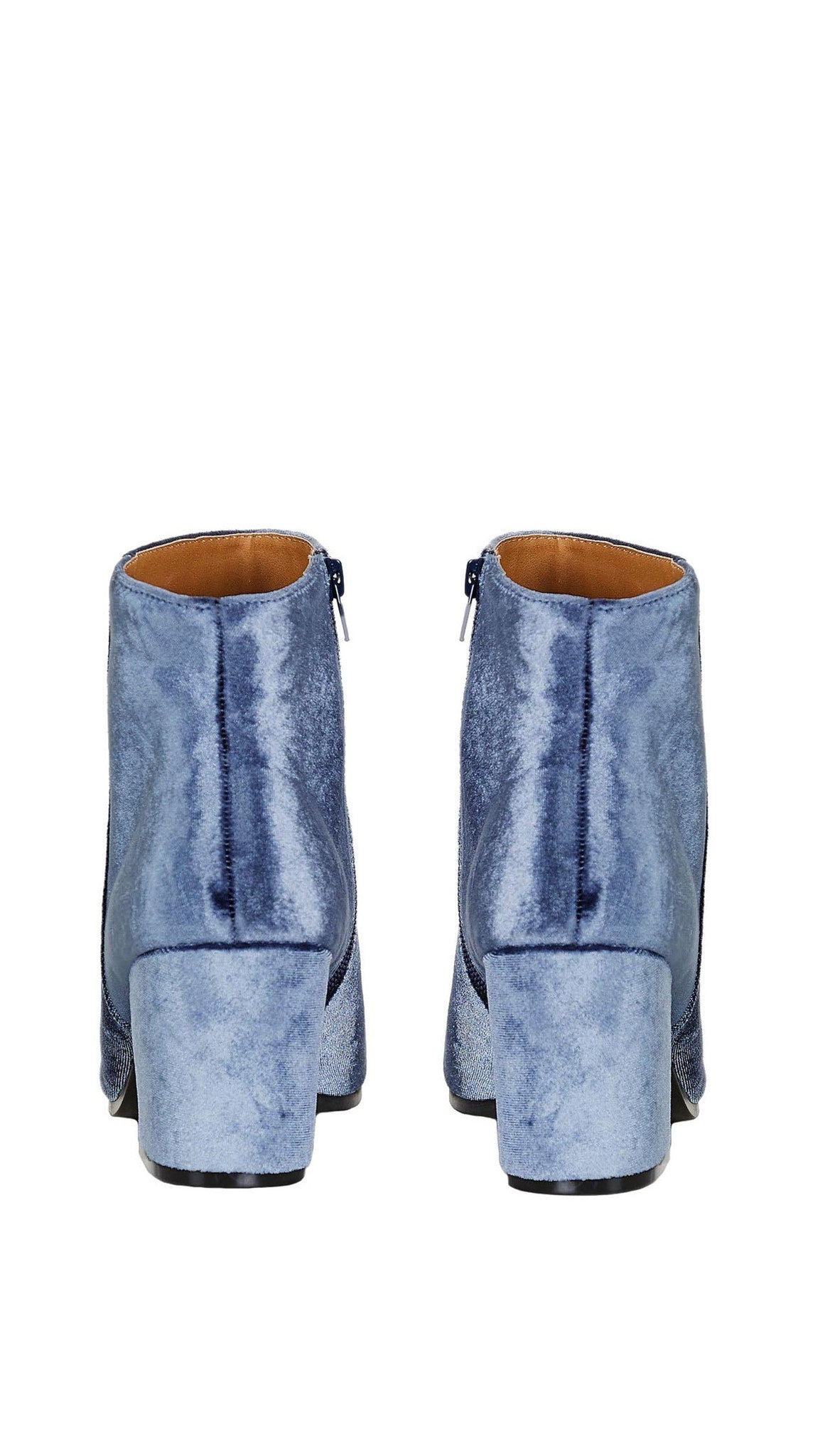 Velour Ankle Booties Light Ice Blue