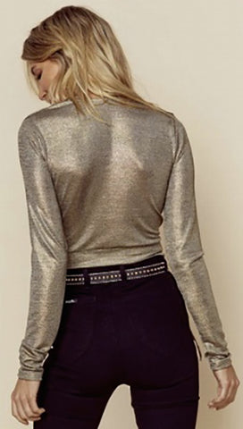 Blue Life Brigid V Neck Crop 70s Top Metallic Gold Long Sleeve | ShopAA