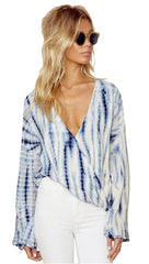 Blue Life Hayley Tie Dye V Neck Top in Boho Stripe Blue