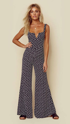Blue Life Gypset Flared Jumpsuit Primrose Polka Dot Black | ShopAA