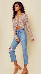 Blue Life Caden Crop Top V Neck Button Down Blouse Leopard Cream
