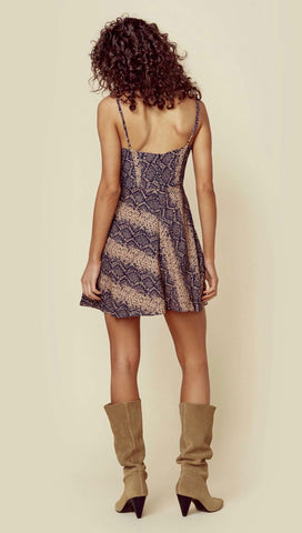 Blue Life Sex Pot Mini Dress V Wire Sweetheart Boa Print Snake I ShopAA