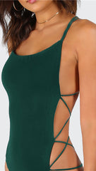 Chloe Strappy Open Back Bodysuit Forest Green Thong Sexy ShopAA