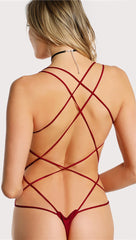 Chloe Strappy Open Back Bodysuit Cherry Red Thong Sexy ShopAA