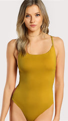 Chloe Strappy Open Back Bodysuit Yellow Thong Sexy ShopAA