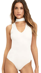 White Choker Cut Out Knit Mock Neck Sleeveless Bodysuit l ShopAA
