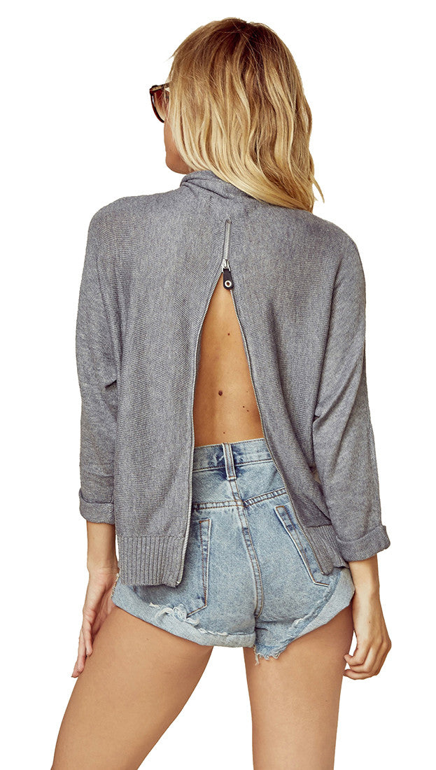 n:Philanthropy Kundi Zip Sweater Storm Grey Open Back Mock Turtle Neck