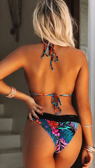 Tropical Neon Palms Black Lace Band Bikini Scrunch Chynna Dolls Swim