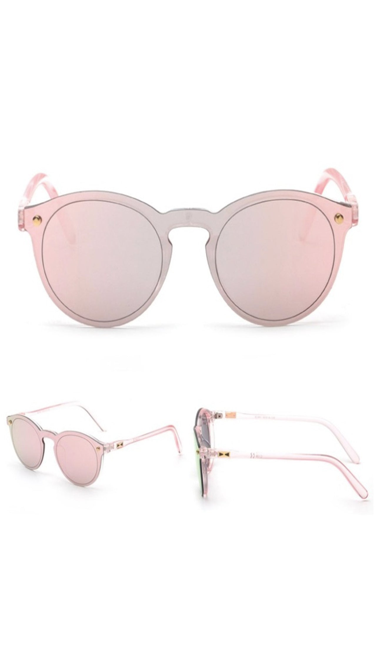 Charlie Shop Shade Sunglasses Rose Gold Reflective Mirror Lens Pink