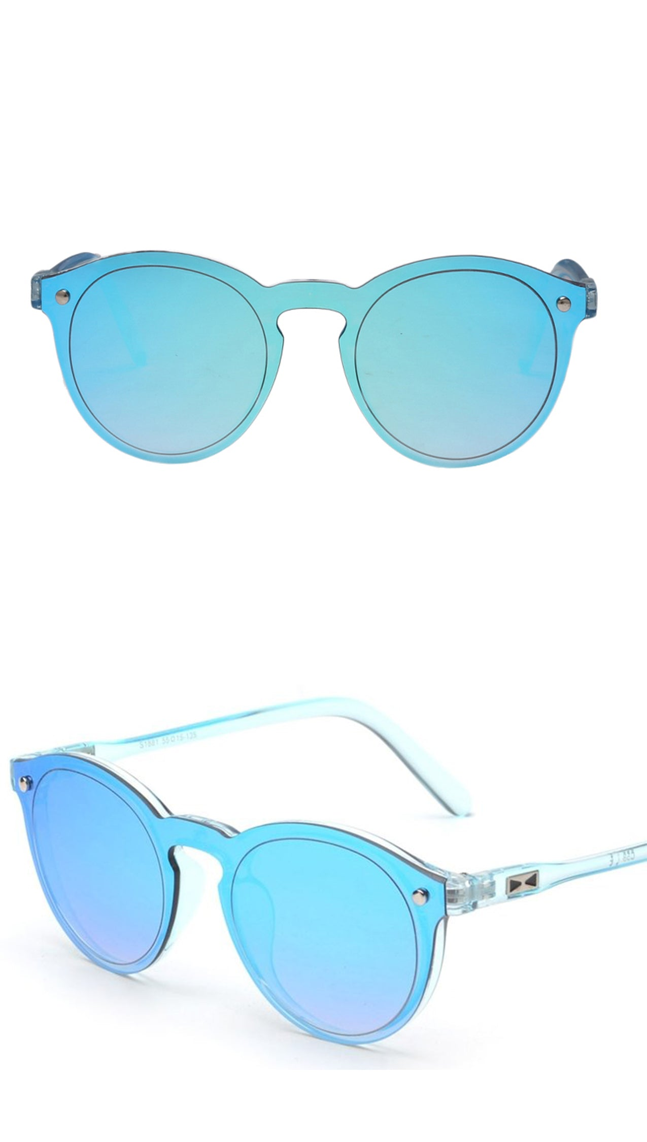 Fashion Shades Mirror Reflective Single Lens SUnglasses Blue