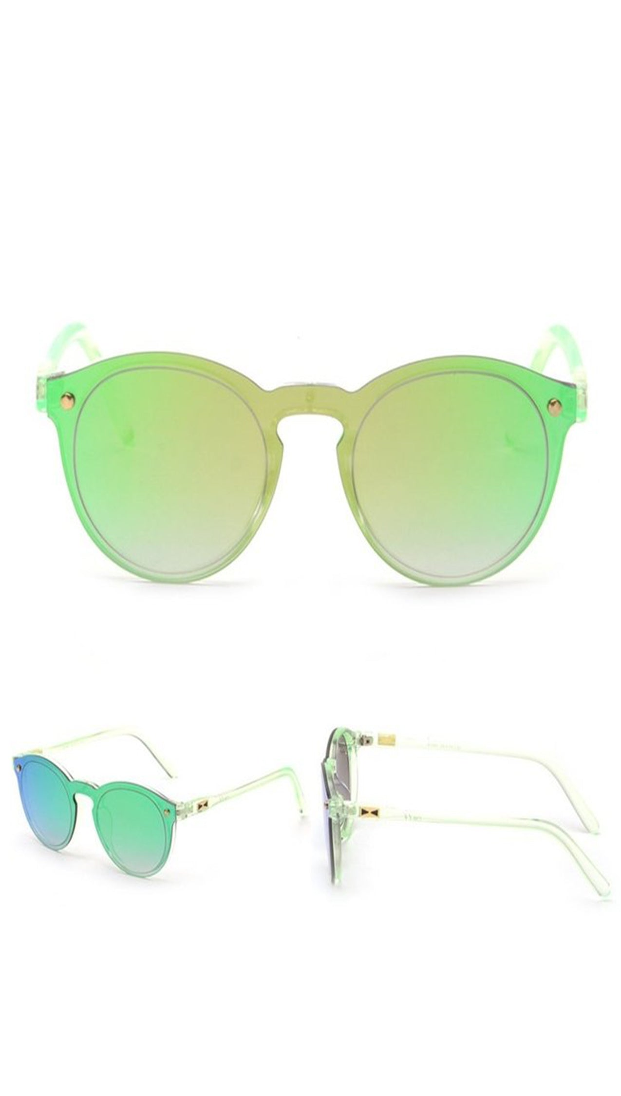 Fashion Shades Mirror Reflective Single Lens SUnglasses Green