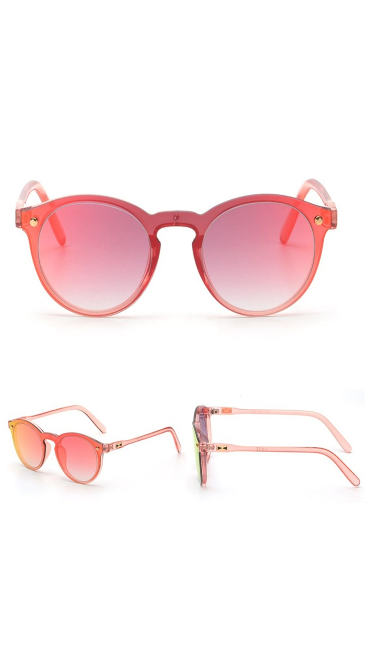Charlie Shades Sunglasses Red Mirror Reflective Fashion Plastic