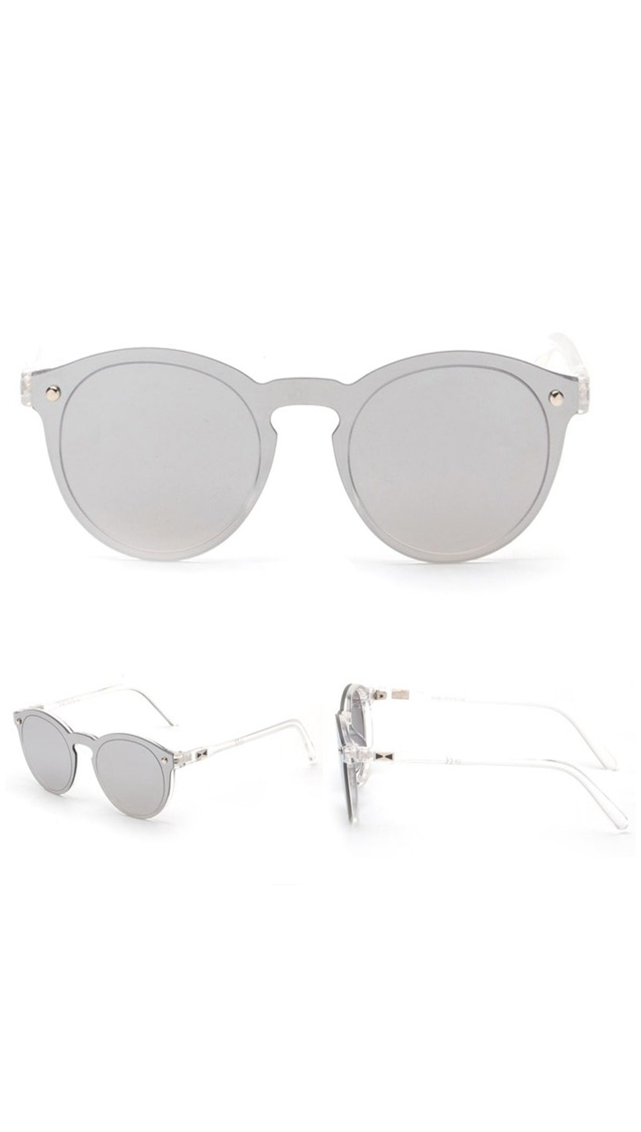 Charlie Shade Sunglasses Silver Mirror Reflective Designer