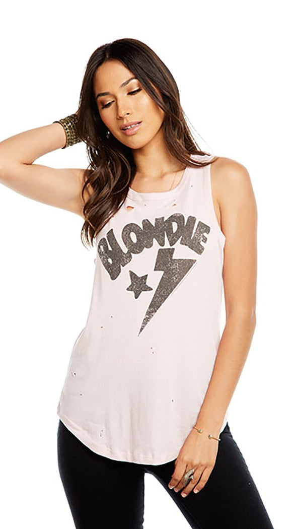 Chaser Blondie Star Muscle Tank Pink