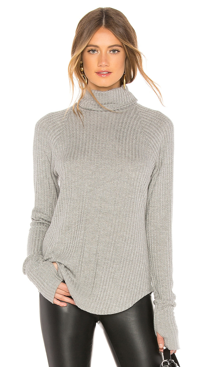 Chaser LA Waffle Thermal Raglan Turtleneck Thumbholes Heather Grey I ShopAA