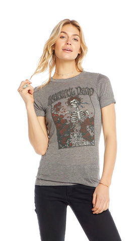 Chaser LA Grateful Dead Skeleton Roses Triblend Tee Heather Grey