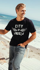 Chaser LA City Of Angels Mens Wings Tee Black Tee Shirt I ShopAA