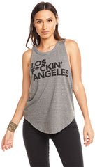 Chaser LA Los F*ckin' Angeles Triblend Muscle Tank Top Streaky Grey