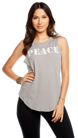 Chaser Peace Muscle Tank Flax Sleeveless Gauzy Shirttail | ShopAA