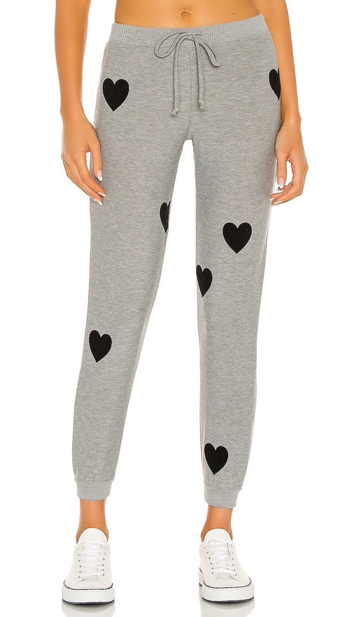 Chaser Brand Flocked Heart Drawstring Cozy Knit Cuffed Jogger Pants