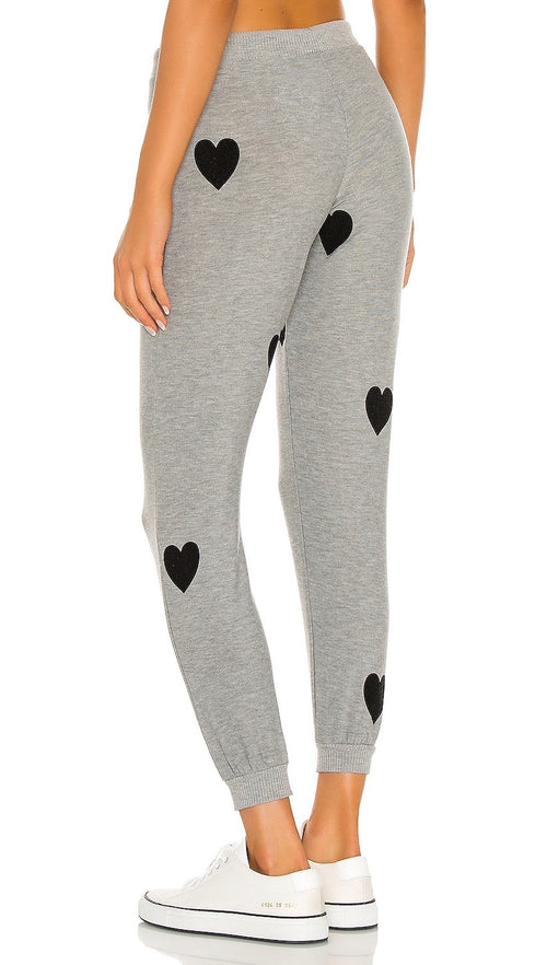 Chaser Brand Flocked Heart Drawstring Cozy Knit Cuffed Jogger Pants Heather Grey