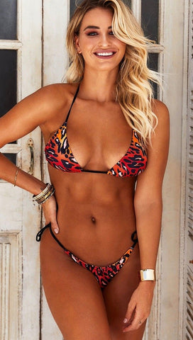 Chynna Dolls Sunset Leopard Animal Print Black String Bikini | ShopAA