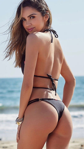 Chynna Dolls Black Ring Wrap Top Double Strap Brazilian Thong | ShopAA
