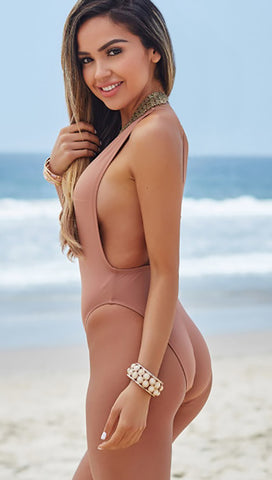 Chynna Dolls Daffodil Plunging Deep V One Piece Swim Dusty Rose ShopAA