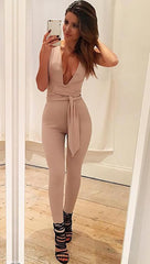 ciara pants sleeveless jumpsuit deep v plunge beige