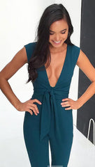 ciara pants sleeveless jumpsuit deep v plunge green turquoise